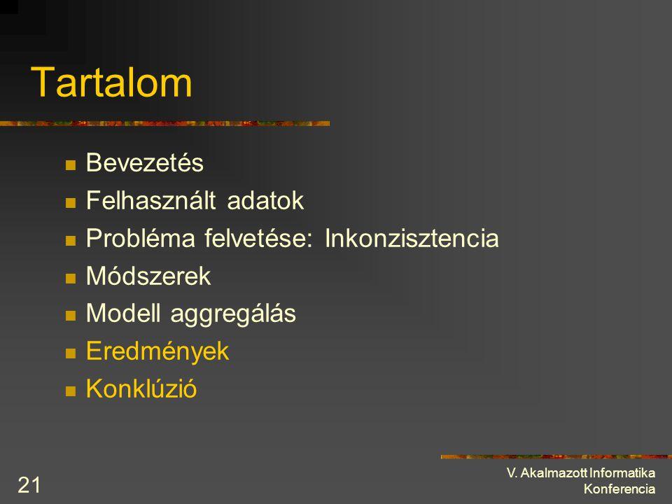 V. Akalmazott Informatika Konferencia 21 Tartalom Bevezetés Felhasznált adatok Probléma felvetése: Inkonzisztencia Módszerek Modell aggregálás Eredmén