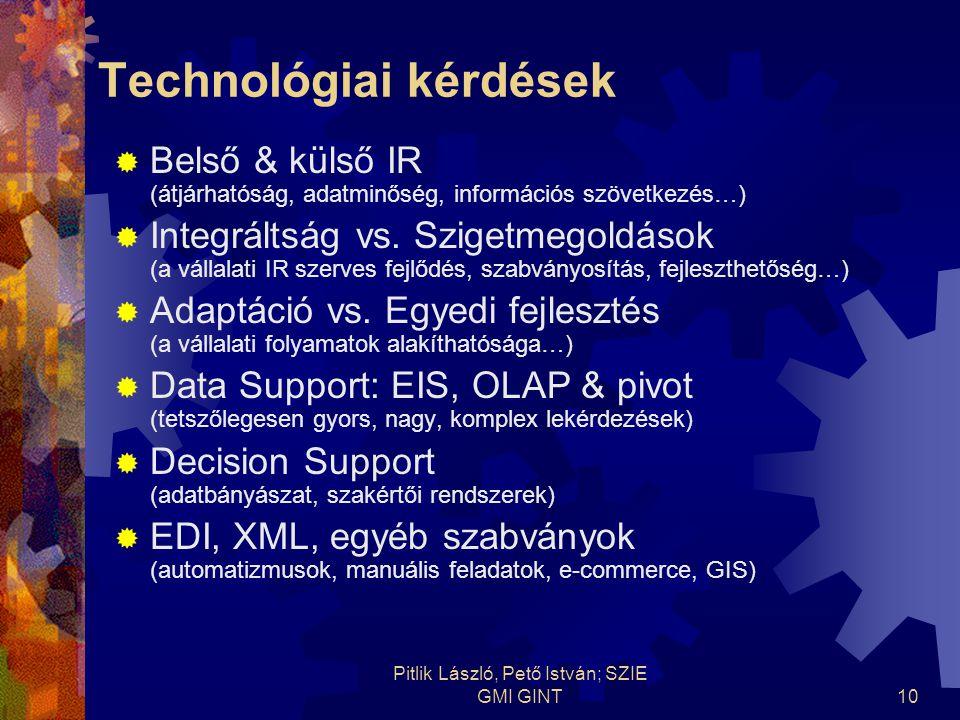 Pitlik László, Pető István; SZIE GMI GINT10 Technológiai kérdések  Belső & külső IR (átjárhatóság, adatminőség, információs szövetkezés…)  Integráltság vs.