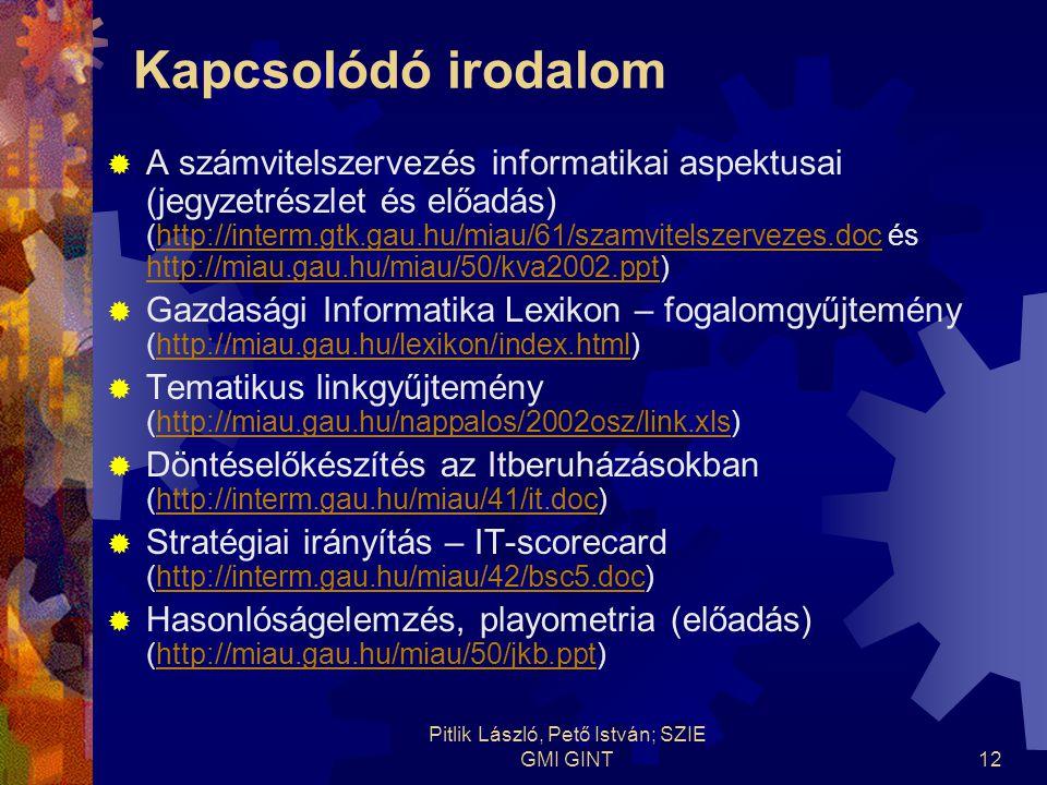 Pitlik László, Pető István; SZIE GMI GINT12 Kapcsolódó irodalom  A számvitelszervezés informatikai aspektusai (jegyzetrészlet és előadás) (http://interm.gtk.gau.hu/miau/61/szamvitelszervezes.doc és http://miau.gau.hu/miau/50/kva2002.ppt)http://interm.gtk.gau.hu/miau/61/szamvitelszervezes.doc http://miau.gau.hu/miau/50/kva2002.ppt  Gazdasági Informatika Lexikon – fogalomgyűjtemény (http://miau.gau.hu/lexikon/index.html)http://miau.gau.hu/lexikon/index.html  Tematikus linkgyűjtemény (http://miau.gau.hu/nappalos/2002osz/link.xls)http://miau.gau.hu/nappalos/2002osz/link.xls  Döntéselőkészítés az Itberuházásokban (http://interm.gau.hu/miau/41/it.doc)http://interm.gau.hu/miau/41/it.doc  Stratégiai irányítás – IT-scorecard (http://interm.gau.hu/miau/42/bsc5.doc)http://interm.gau.hu/miau/42/bsc5.doc  Hasonlóságelemzés, playometria (előadás) (http://miau.gau.hu/miau/50/jkb.ppt)http://miau.gau.hu/miau/50/jkb.ppt