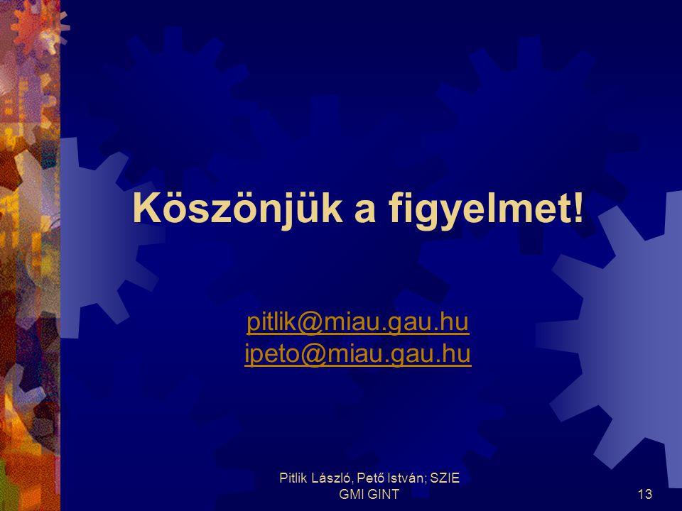 Pitlik László, Pető István; SZIE GMI GINT13 Köszönjük a figyelmet.