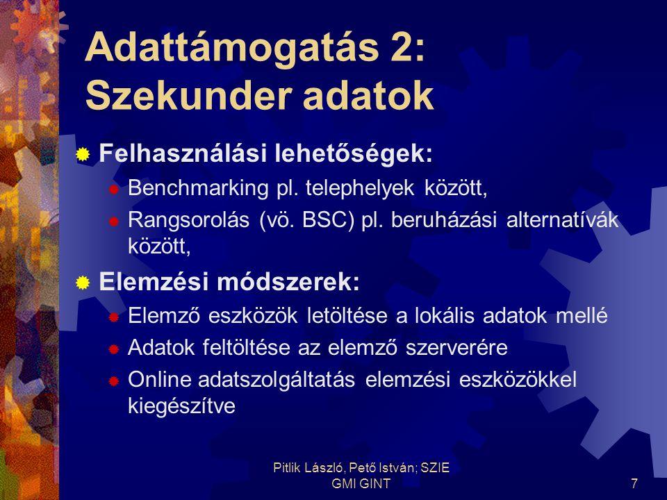 Pitlik László, Pető István; SZIE GMI GINT8 Adattámogatás 3: Online előrejelzések, elemzések  Átjárhatóság a különböző adatforrások és menedzsment bármely elemző eszköze között vs.