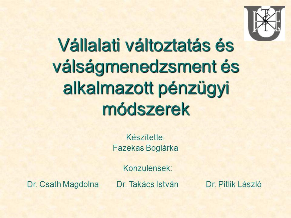 Vállalati változtatás és válságmenedzsment és alkalmazott pénzügyi módszerek Készítette: Fazekas Boglárka Konzulensek: Dr. Csath MagdolnaDr. Takács Is