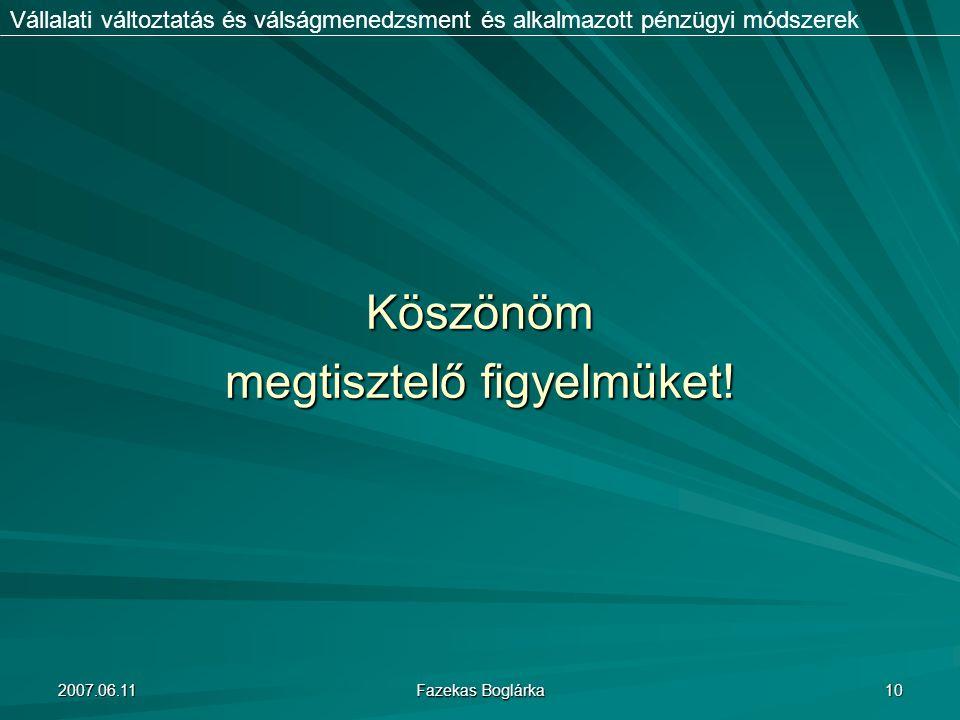 2007.06.11 Fazekas Boglárka 10 Vállalati változtatás és válságmenedzsment és alkalmazott pénzügyi módszerekKöszönöm megtisztelő figyelmüket!