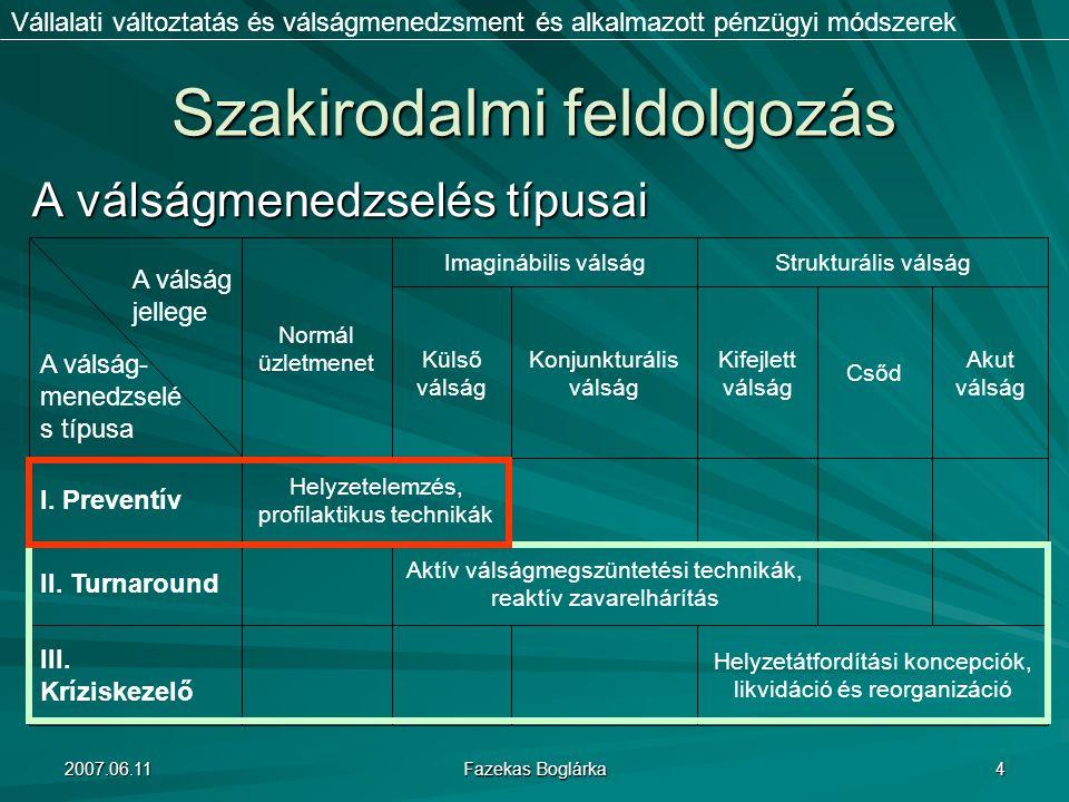 2007.06.11 Fazekas Boglárka 4 Szakirodalmi feldolgozás Vállalati változtatás és válságmenedzsment és alkalmazott pénzügyi módszerek A válságmenedzselé