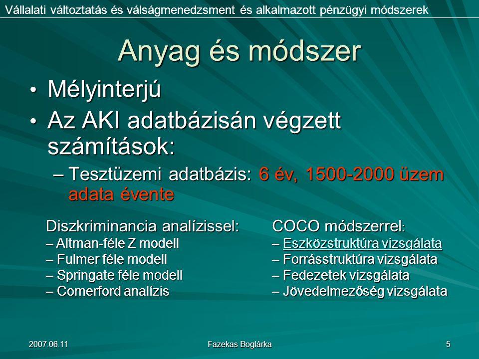 2007.06.11 Fazekas Boglárka 5 Anyag és módszer Mélyinterjú Mélyinterjú Az AKI adatbázisán végzett számítások: Az AKI adatbázisán végzett számítások: –