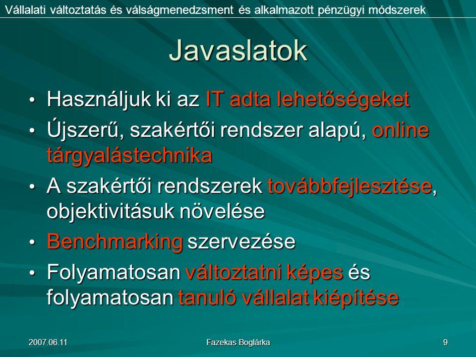 2007.06.11 Fazekas Boglárka 9 Javaslatok Használjuk ki az IT adta lehetőségeket Használjuk ki az IT adta lehetőségeket Újszerű, szakértői rendszer ala