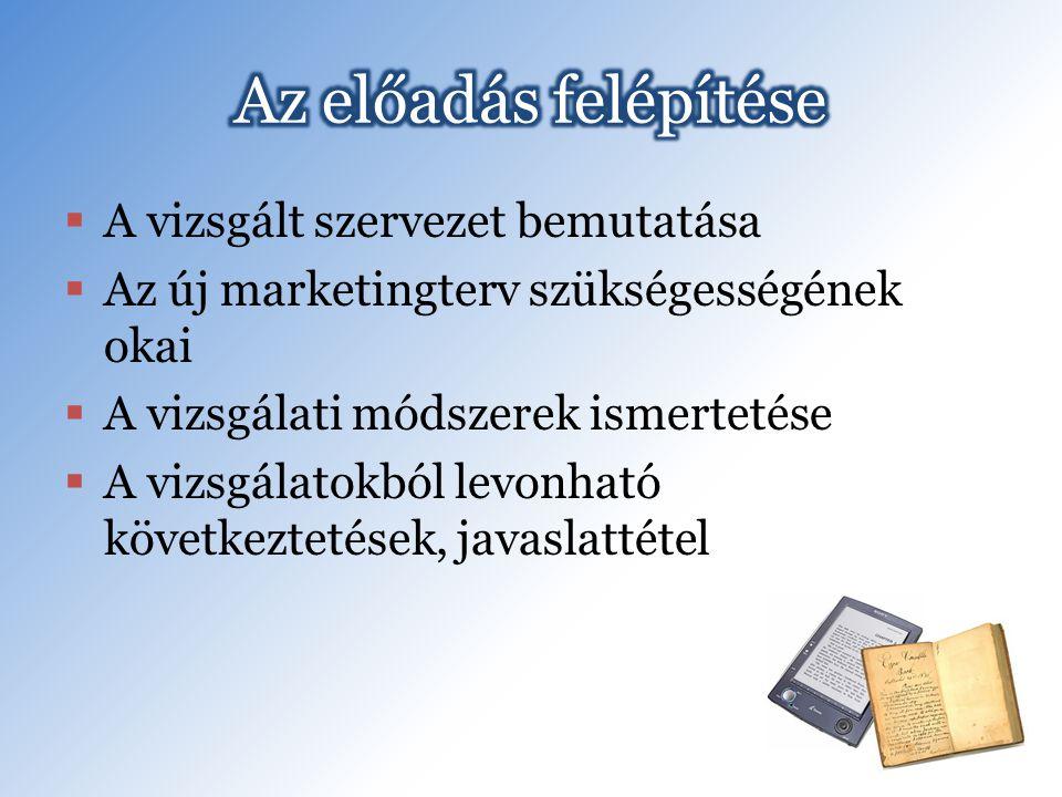  A vizsgált szervezet bemutatása  Az új marketingterv szükségességének okai  A vizsgálati módszerek ismertetése  A vizsgálatokból levonható következtetések, javaslattétel