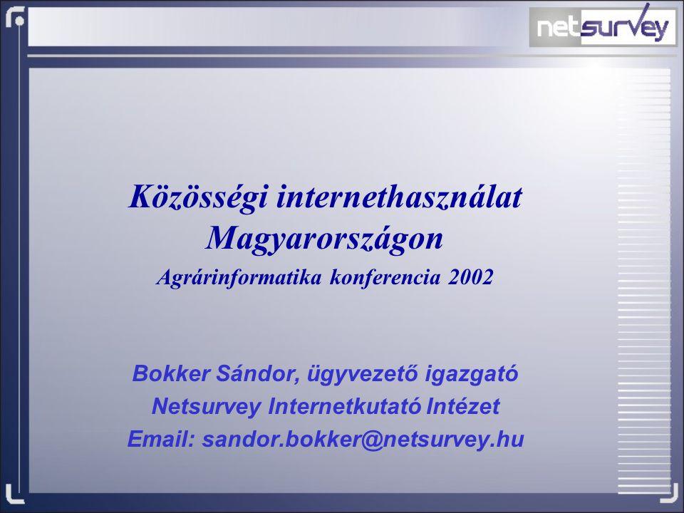 Közösségi internethasználat Magyarországon Agrárinformatika konferencia 2002 Bokker Sándor, ügyvezető igazgató Netsurvey Internetkutató Intézet Email: