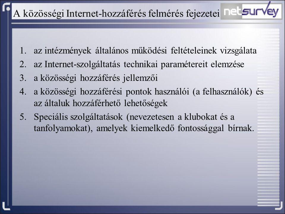 A közösségi Internet-hozzáférés felmérés fejezetei 1.az intézmények általános működési feltételeinek vizsgálata 2.az Internet-szolgáltatás technikai p