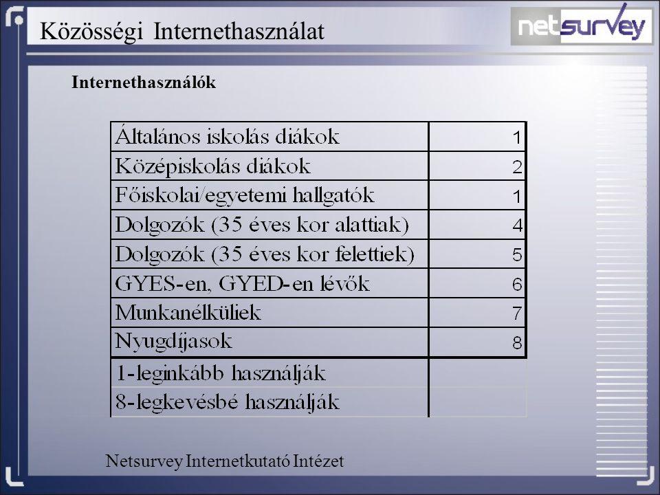 Közösségi Internethasználat Internethasználók Netsurvey Internetkutató Intézet