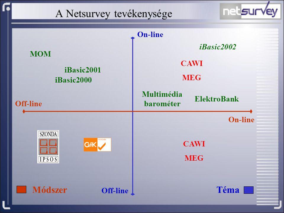 A Netsurvey tevékenysége Off-line On-line Off-line iBasic2000 iBasic2001 iBasic2002 MOM MódszerTéma ElektroBank Multimédia barométer CAWI MEG CAWI MEG