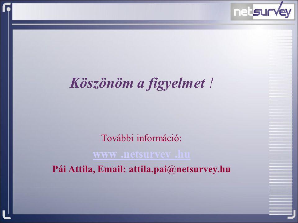 Köszönöm a figyelmet ! További információ: www.netsurvey.hu Pái Attila, Email: attila.pai@netsurvey.hu