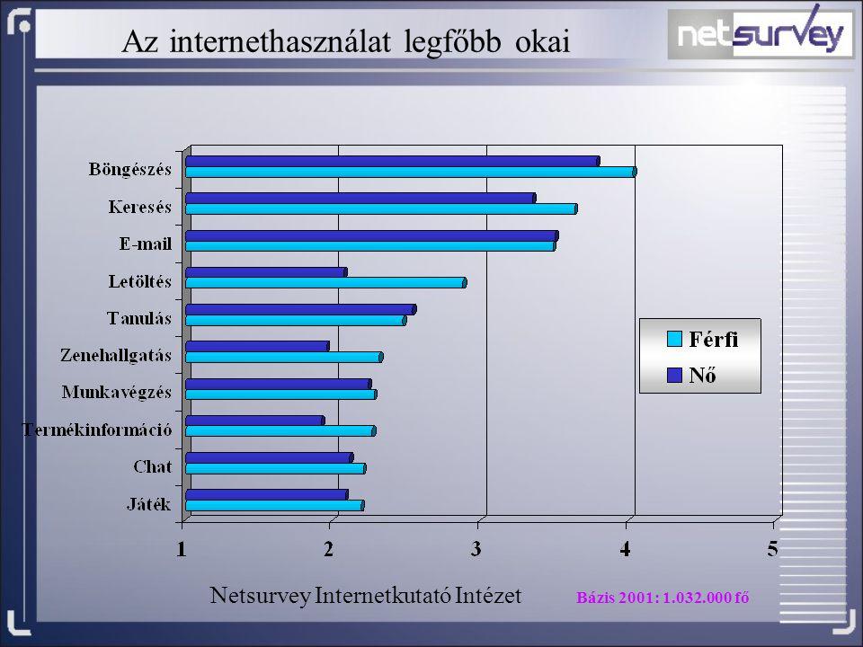 Az internethasználat legfőbb okai Netsurvey Internetkutató Intézet Bázis 2001: 1.032.000 fő