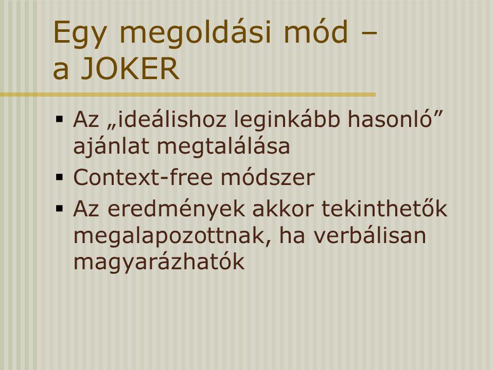 """Egy megoldási mód – a JOKER  Az """"ideálishoz leginkább hasonló"""" ajánlat megtalálása  Context-free módszer  Az eredmények akkor tekinthetők megalapoz"""