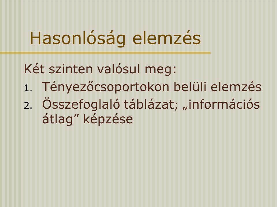 """Hasonlóság elemzés Két szinten valósul meg: 1. Tényezőcsoportokon belüli elemzés 2. Összefoglaló táblázat ; """"információs átlag"""" képzése"""