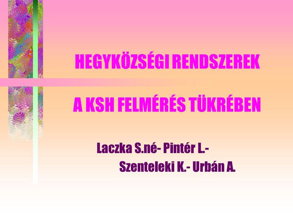 HEGYKÖZSÉGI RENDSZEREK A KSH FELMÉRÉS TÜKRÉBEN Laczka S.né- Pintér L.- Szenteleki K.- Urbán A.