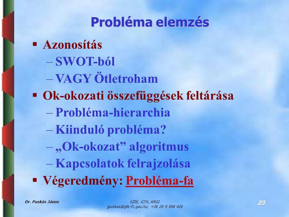 Dr. Puskás JánosSZIE, GTK, ARGI jpuskas@gtk-f1.gau.hu; +36 20 9 508 426 23 Probléma elemzés  Azonosítás –SWOT-ból –VAGY Ötletroham  Ok-okozati össze