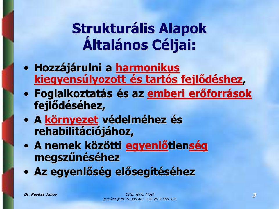 Dr. Puskás JánosSZIE, GTK, ARGI jpuskas@gtk-f1.gau.hu; +36 20 9 508 426 3 Strukturális Alapok Általános Céljai: Hozzájárulni a harmonikus kiegyensúlyo