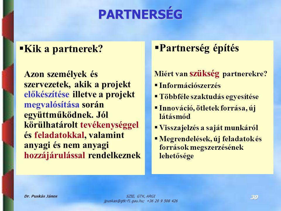Dr. Puskás JánosSZIE, GTK, ARGI jpuskas@gtk-f1.gau.hu; +36 20 9 508 426 30 PARTNERSÉG  Kik a partnerek? Azon személyek és szervezetek, akik a projekt