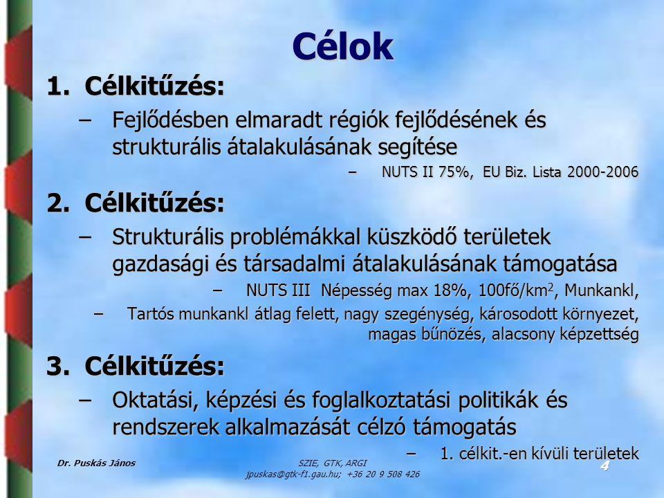 Dr. Puskás JánosSZIE, GTK, ARGI jpuskas@gtk-f1.gau.hu; +36 20 9 508 426 4 Célok 1.Célkitűzés: –Fejlődésben elmaradt régiók fejlődésének és strukturáli