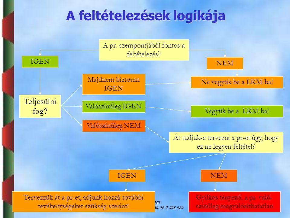Dr. Puskás JánosSZIE, GTK, ARGI jpuskas@gtk-f1.gau.hu; +36 20 9 508 426 41 A pr. szempontjából fontos a feltételezés? IGEN NEM Teljesülni fog? Majdnem