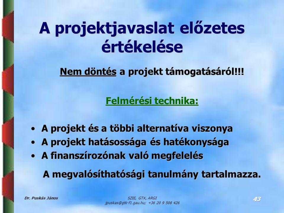 Dr. Puskás JánosSZIE, GTK, ARGI jpuskas@gtk-f1.gau.hu; +36 20 9 508 426 43 A projektjavaslat előzetes értékelése Nem döntés a projekt támogatásáról!!!