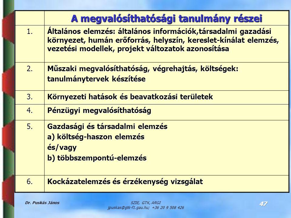 Dr. Puskás JánosSZIE, GTK, ARGI jpuskas@gtk-f1.gau.hu; +36 20 9 508 426 47 A megvalósíthatósági tanulmány részei 1. Általános elemzés: általános infor