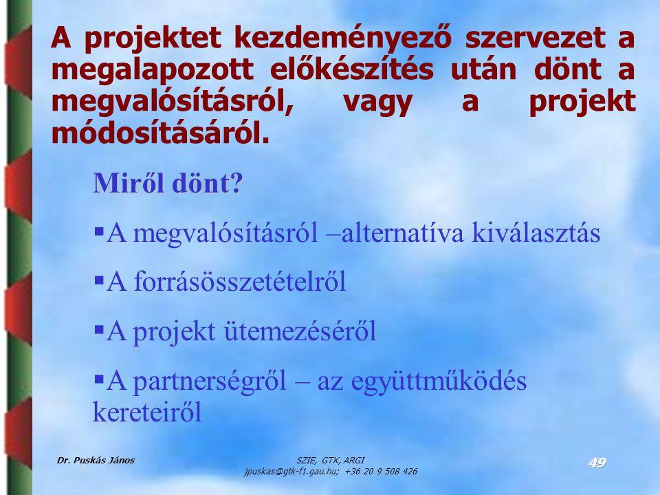 Dr. Puskás JánosSZIE, GTK, ARGI jpuskas@gtk-f1.gau.hu; +36 20 9 508 426 49 A projektet kezdeményező szervezet a megalapozott előkészítés után dönt a m