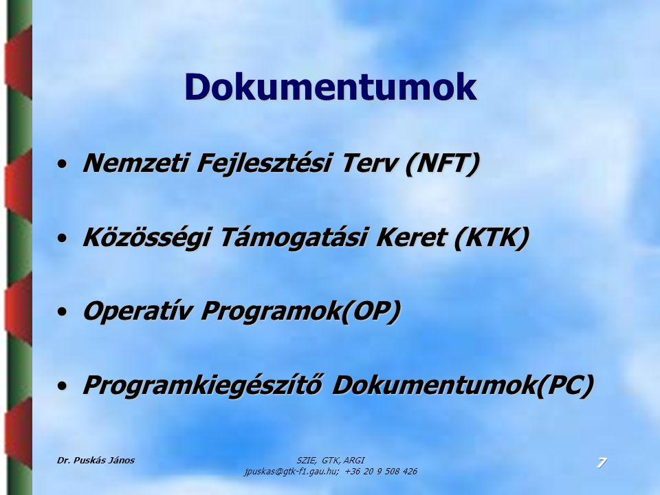 Dr. Puskás JánosSZIE, GTK, ARGI jpuskas@gtk-f1.gau.hu; +36 20 9 508 426 7 Dokumentumok Nemzeti Fejlesztési Terv (NFT)Nemzeti Fejlesztési Terv (NFT) Kö