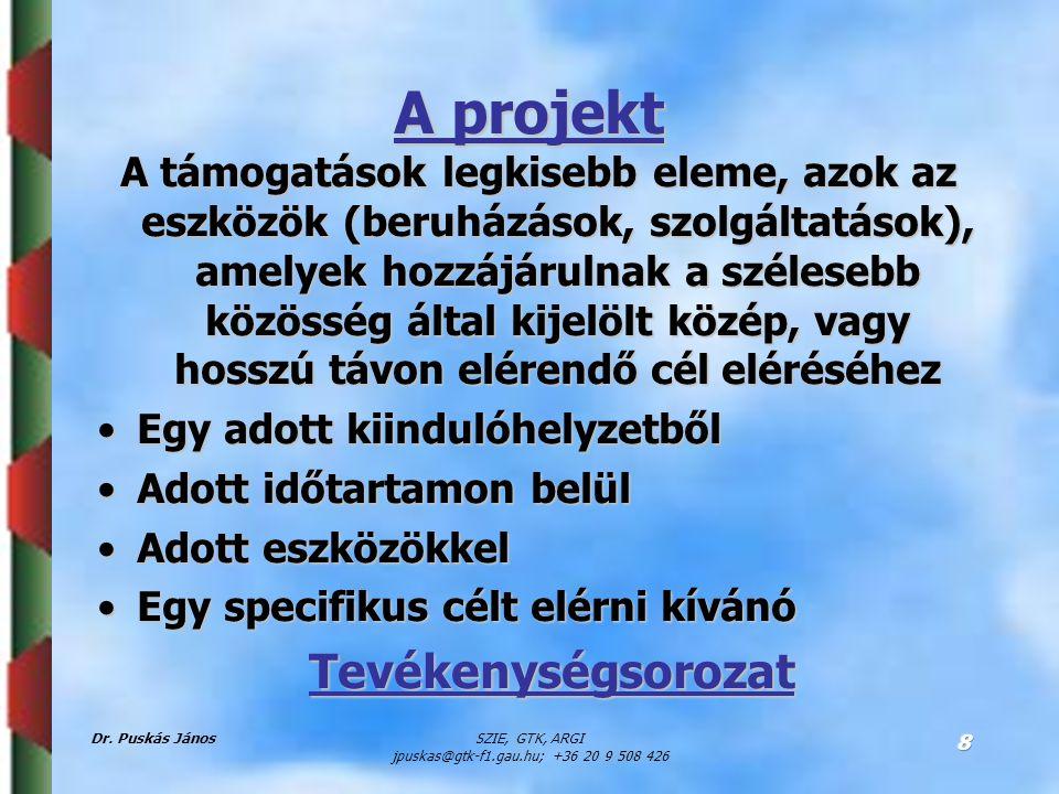 Dr. Puskás JánosSZIE, GTK, ARGI jpuskas@gtk-f1.gau.hu; +36 20 9 508 426 8 A projekt A támogatások legkisebb eleme, azok az eszközök (beruházások, szol