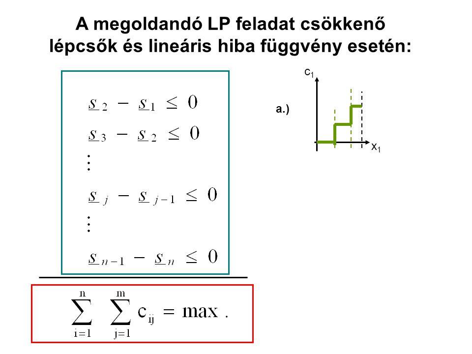 A megoldandó LP feladat csökkenő lépcsők és lineáris hiba függvény esetén: c1c1 x1x1 a.)