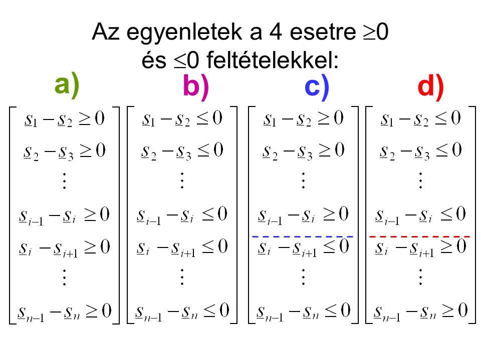a) b)c)d) Az egyenletek a 4 esetre  0 és  0 feltételekkel: