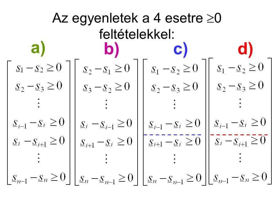 a) b)c)d) Az egyenletek a 4 esetre  0 feltételekkel:
