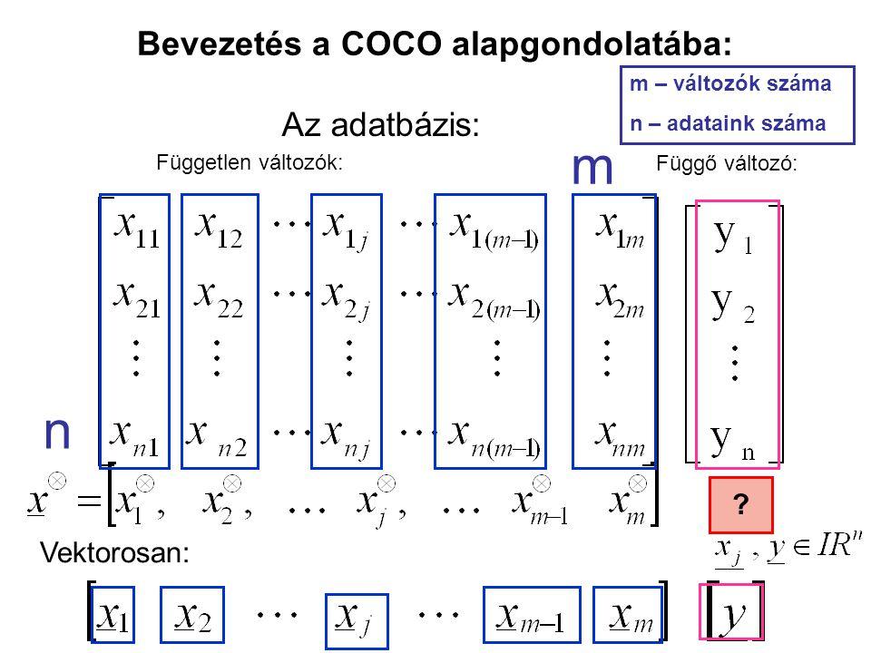 Bevezetés a COCO alapgondolatába: Független változók: Függő változó: Vektorosan: Az adatbázis: m n m – változók száma n – adataink száma ?