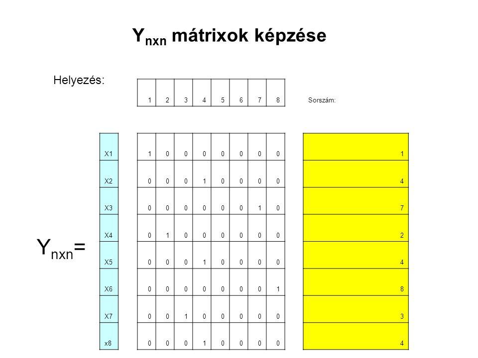 12345678Sorszám: X1100000001 X2000100004 X3000000107 X4010000002 X5000100004 X6000000018 X7001000003 x8000100004 Y nxn = Y nxn mátrixok képzése Helyezés: