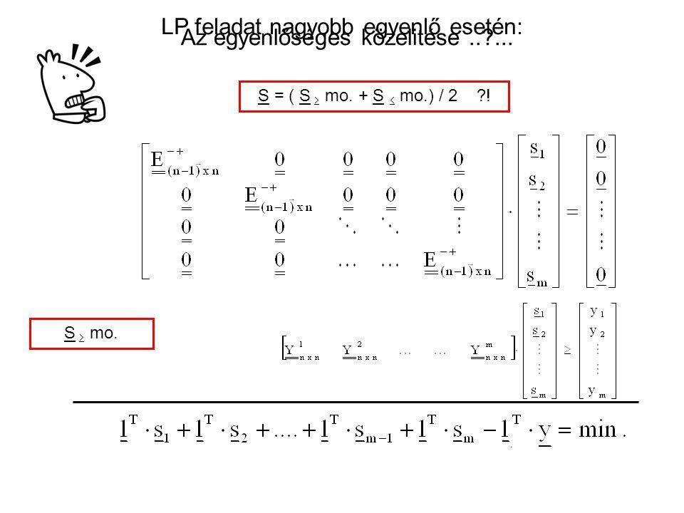 LP feladat nagyobb egyenlő esetén: S  mo.S = ( S  mo.
