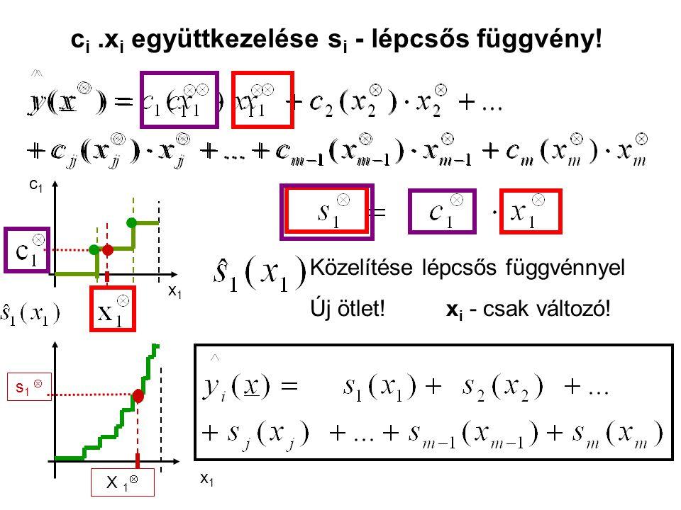 x1x1 Közelítése lépcsős függvénnyel Új ötlet! x i - csak változó! c1c1 x1x1 c i.x i együttkezelése s i - lépcsős függvény! X 1  s 1 