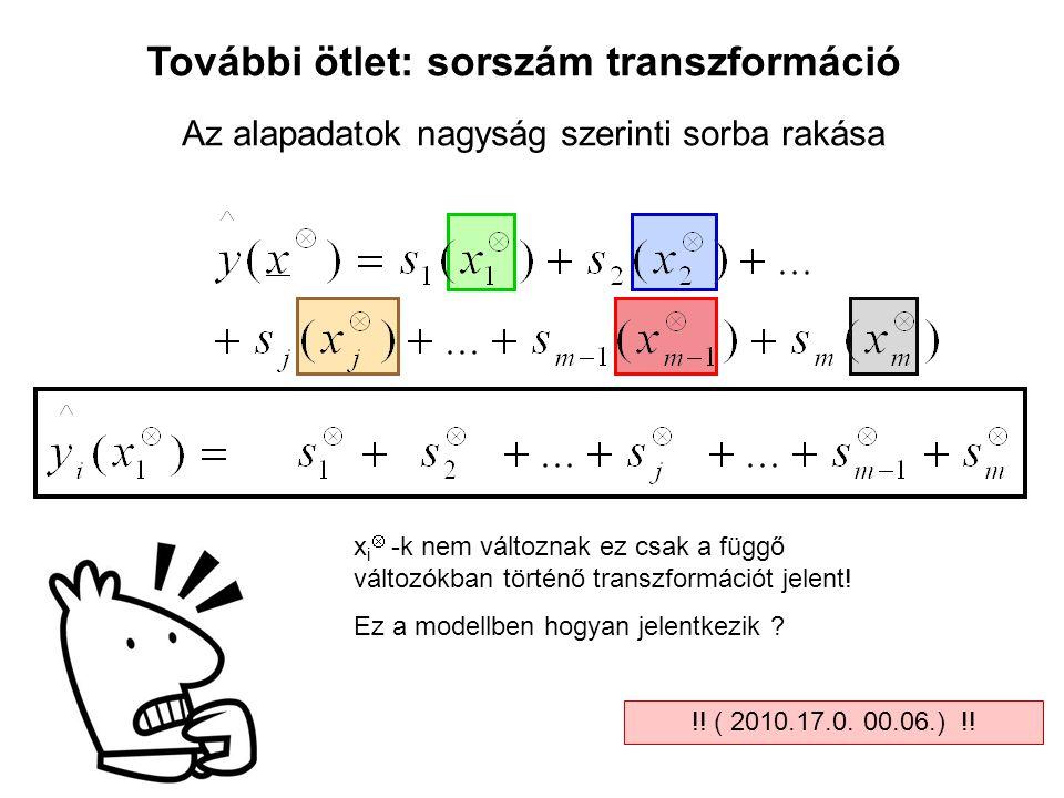 További ötlet: sorszám transzformáció x i  -k nem változnak ez csak a függő változókban történő transzformációt jelent! Ez a modellben hogyan jelentk