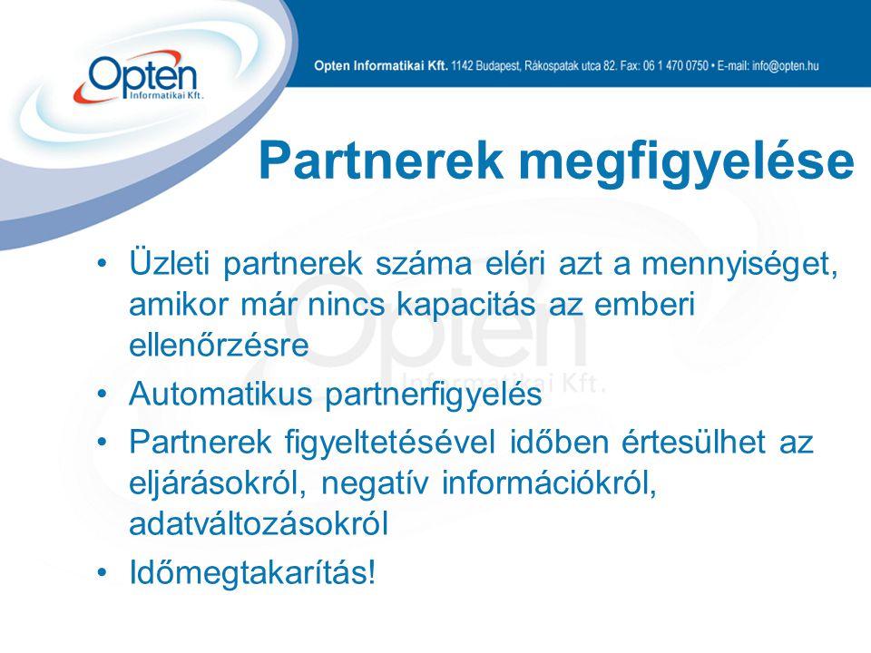 Partnerek megfigyelése Üzleti partnerek száma eléri azt a mennyiséget, amikor már nincs kapacitás az emberi ellenőrzésre Automatikus partnerfigyelés P