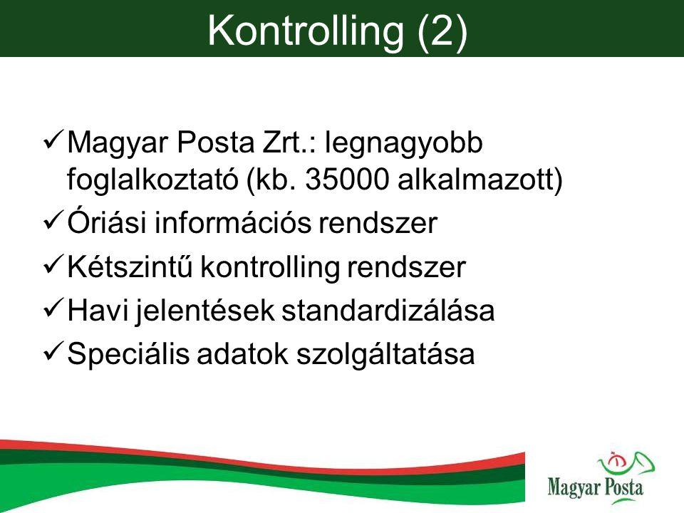 Kontrolling (2) Magyar Posta Zrt.: legnagyobb foglalkoztató (kb.