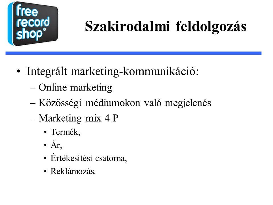 Szakirodalmi feldolgozás Integrált marketing-kommunikáció: –Online marketing –Közösségi médiumokon való megjelenés –Marketing mix 4 P Termék, Ár, Értékesítési csatorna, Reklámozás.