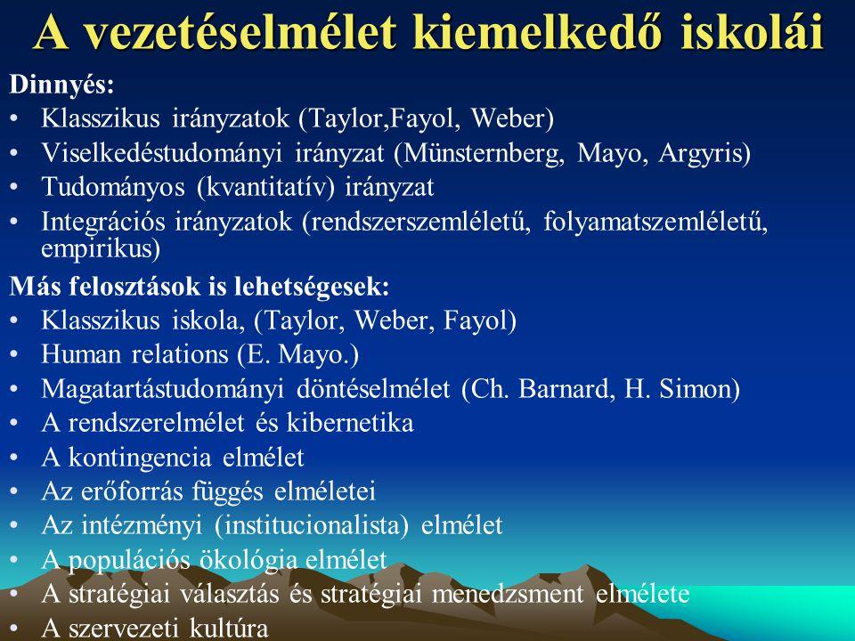 A vezetéselmélet kiemelkedő iskolái Dinnyés: Klasszikus irányzatok (Taylor,Fayol, Weber) Viselkedéstudományi irányzat (Münsternberg, Mayo, Argyris) Tudományos (kvantitatív) irányzat Integrációs irányzatok (rendszerszemléletű, folyamatszemléletű, empirikus) Más felosztások is lehetségesek: Klasszikus iskola, (Taylor, Weber, Fayol) Human relations (E.