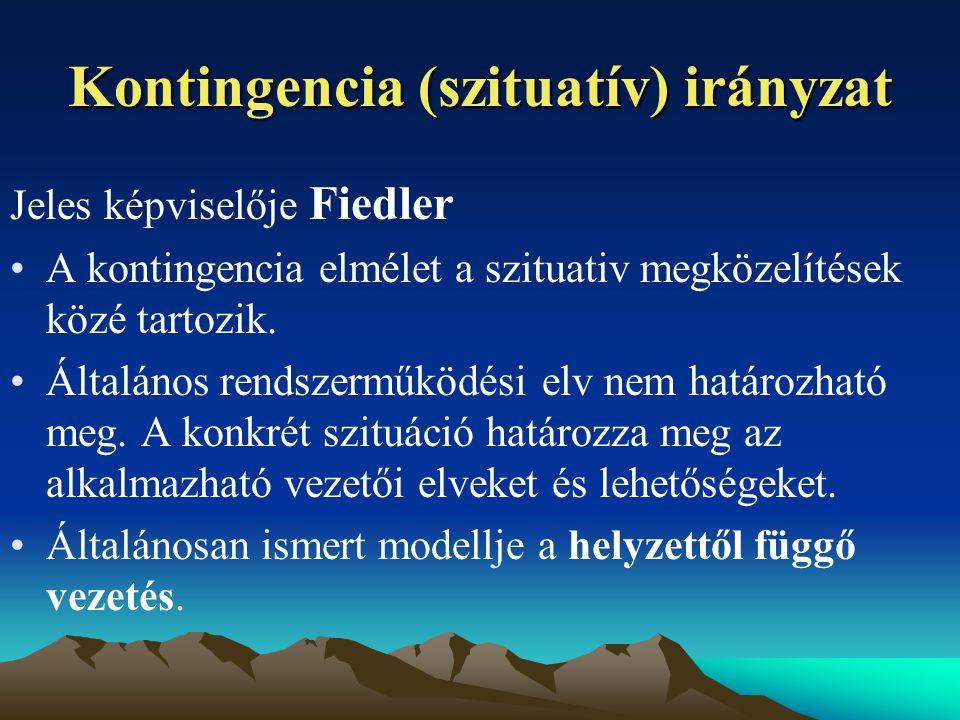 Kontingencia (szituatív) irányzat Jeles képviselője Fiedler A kontingencia elmélet a szituativ megközelítések közé tartozik.