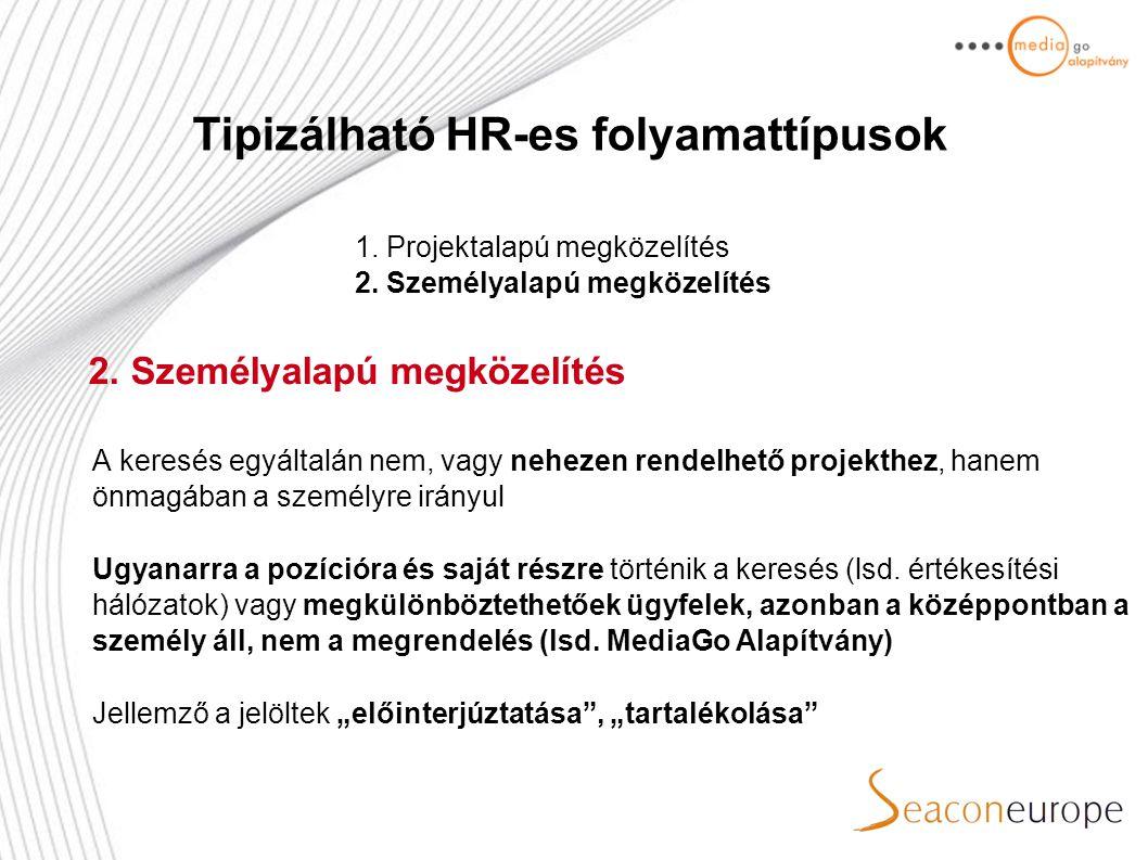 Tipizálható HR-es folyamattípusok 1. Projektalapú megközelítés 2.