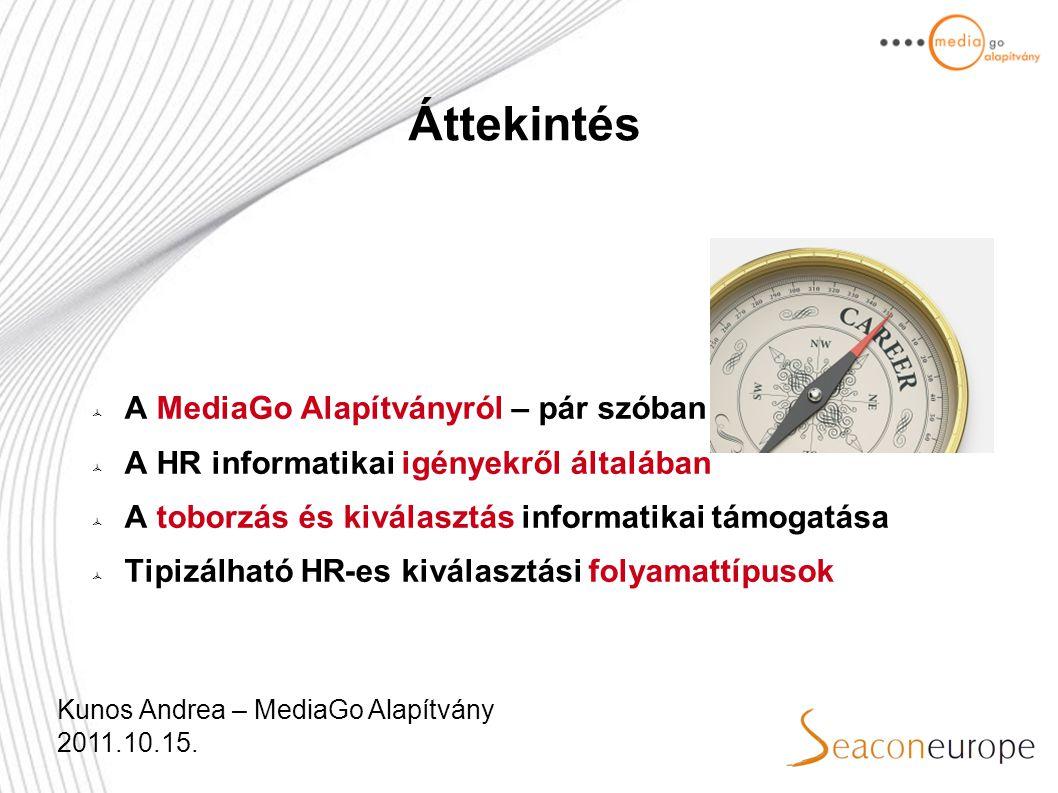 Áttekintés  A MediaGo Alapítványról – pár szóban  A HR informatikai igényekről általában  A toborzás és kiválasztás informatikai támogatása  Tipizálható HR-es kiválasztási folyamattípusok Kunos Andrea – MediaGo Alapítvány 2011.10.15.