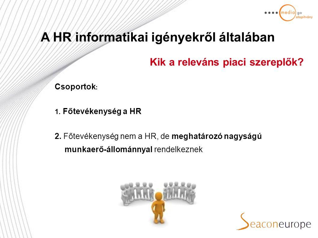 Főtevékenység a HR Munkaerőközvetítők Fejvadászok Munkaerőkölcsönzők Iskolaszövetkezetek Egyéb követítéssel foglalkozók Főtevékenység nem a HR Nagyvállalatok Értékesítői hálózatok, sales house-ok A HR informatikai igényekről általában Kik a releváns piaci szereplők?