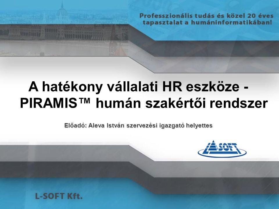 Integrált moduláris alrendszer működés PIRAMISTM humán szakértői rendszer INTEGRÁLT munkaidő-kezelés, tervezés INTEGRÁLT bérügyvitel, HR INTEGRÁLT vezetői információs rendszer INTEGRÁLT vállalkozói elszámolások /INTERFÉSZEK a beléptető, VIR, főkönyvi rendszerekhez