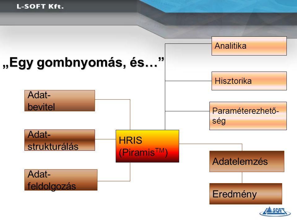 """""""Egy gombnyomás, és…"""" HRIS (Piramis TM ) Adat- bevitel Adat- strukturálás Adat- feldolgozás Adatelemzés Eredmény Analitika Hisztorika Paraméterezhető-"""