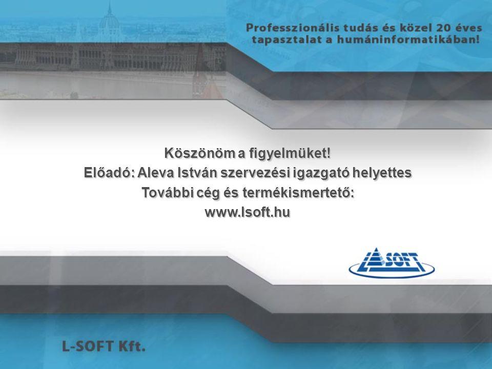 Köszönöm a figyelmüket! Előadó: Aleva István szervezési igazgató helyettes További cég és termékismertető: www.lsoft.hu