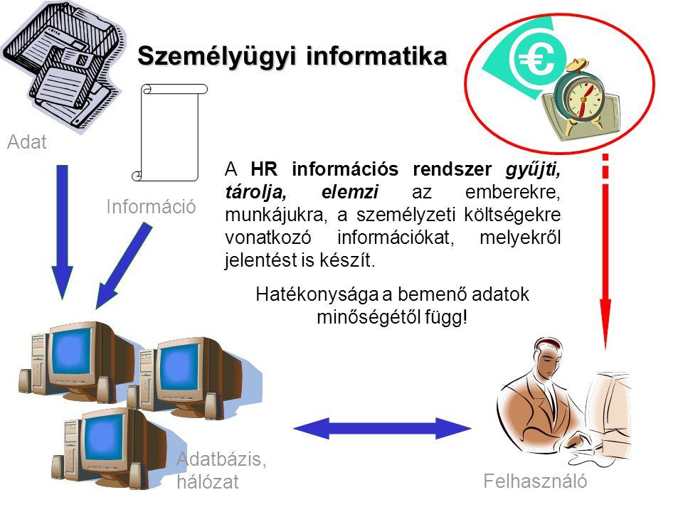 Személyügyi informatika A HR információs rendszer gyűjti, tárolja, elemzi az emberekre, munkájukra, a személyzeti költségekre vonatkozó információkat,